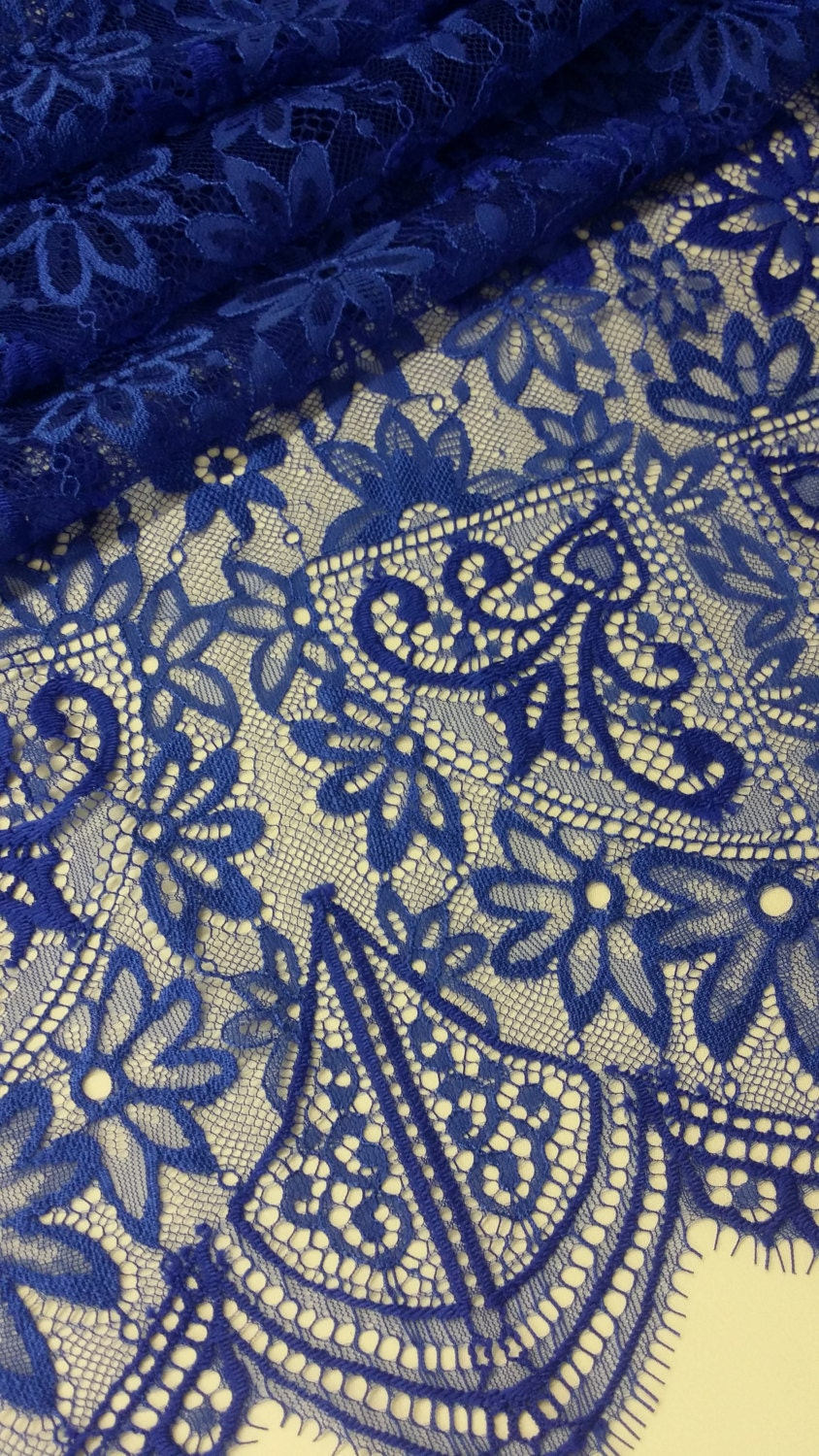 Royal Blue Lace Fabric French Lace Chantilly Lace Bridal