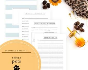Family Pets Binder Kit PDF - A Printable PDF