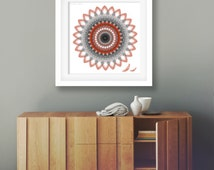 Modern tribal print 10x10 poster feather southwestern black white grey bright red bold wall art mandala boho style college dorm decoration