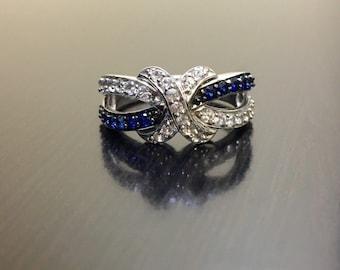 Art Deco Sapphire Engagement Band - Blue Sapphire Art Deco White Sapphire Wedding Band - Blue Sapphire Band - White Sapphire Band