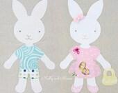 BRILLIANT BUNNIES PDF Appliqué Pattern and Template; Easter Bunny Girl Boy Rabbit