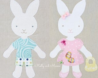 BRILLIANT BUNNIES PDF Appliqué Pattern and Template; Easter Bunny Girl Boy Rabbit