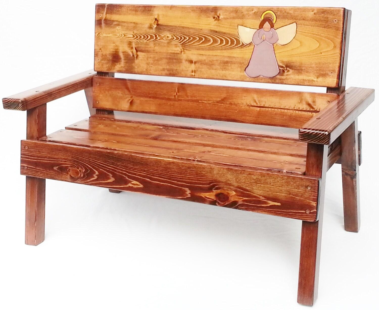 Wood Memorial Bench ~ Childrens angel wings memorial bench outdoor garden wood