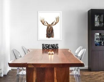 Woodland Animal Decor, Moose Art Print, Wildlife Watercolor, Woodland Animal Art, Moose Watercolor, Wildlife Art, Large Animal Print