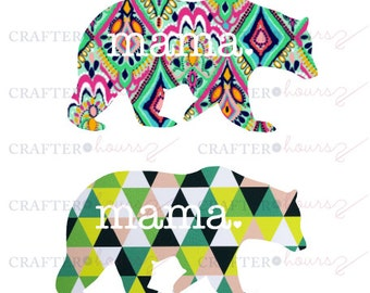 """Mama Bear vinyl decal (Patterned Prints) - 3"""", 4"""", or 5"""" - solid colors and patterns available"""
