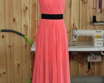 2016 Watermelon Bridesmaid dress, Long Wedding dress, Sweetheart Chiffon dress, Formal dress, Prom dress