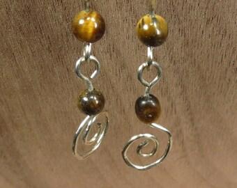 Silver Earrings. Tigereye Earrings. Handmade.  Ready to Ship!
