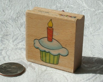 Birthday Cupcake Rubber STamp Happy Birthday Cupcake stamp Sarah Beise Wood Mount Stamp Birthday Rubber STamp, Birthday Stamp, Candle Stamp