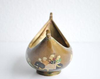 Antique Beggars Bowl Hand Painted Papier Mache Lacquered Kashkul Dervish India Boho Eclectic Asian Decor Accessory