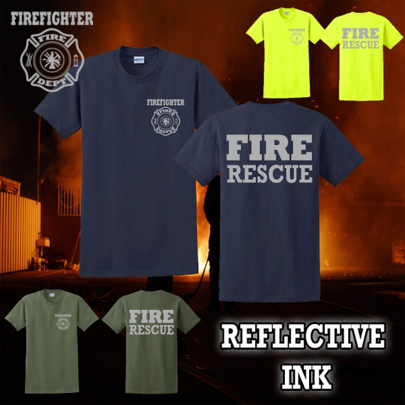 Reflective Fire Rescue Firefighter Shirt - Fire Department High Visibility Ink