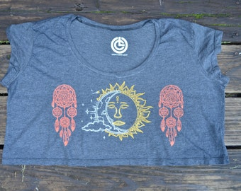 Sun and Moon Crop Top - Sun and Moon Loose Cropped T-Shirt  - Dreamcatcher Crop Top  - Festival Crop Top