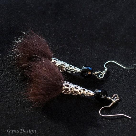 Recycled Fur Dangle Earrings by GunaDesign