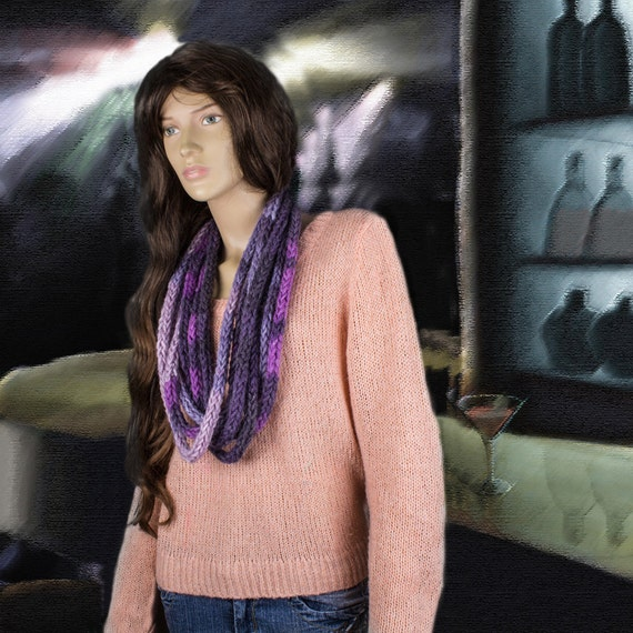Purple Grey Crochet Infinity Scarf Necklace