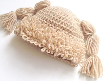 Cabbage Patch Knit Hat With Fringe And Pigtails Pattern : crochet hat cabbage patch   Etsy