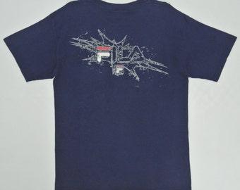 Fila Shirt Mens Medium Vintage Fila T Shirt Fila Vintage T Fila Navy Blue Pocket T Made in USA Fila Big Logo Men's Size M