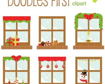 Winter Windows II Digital Clip Art for Scrapbooking Card Making Cupcake Toppers Paper Crafts