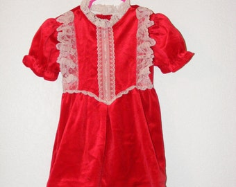 Vintage Red Velvet Dress for girls in size 24months