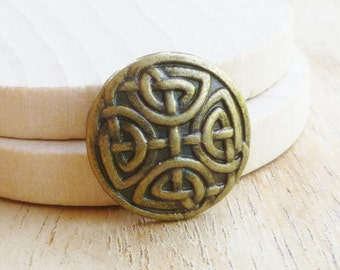 Celtic Knot Button - Bronze Button - Metal Button - Shank Button - Bronze Shank Button - Wrap Bracelet Button - 2mm Hole Button - Celtic