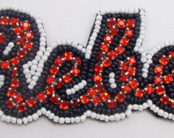 """Rebel Word Applique with Red Rhinestones, Black and White Beads, Felt Backing, 5.5"""" x 2""""   -33703-M1386"""