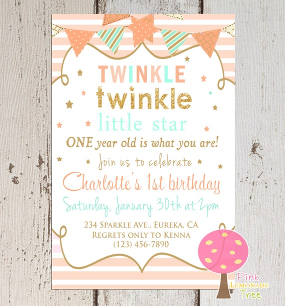 Twinkle Twinkle Little Star Birthday Invitation Peach Mint