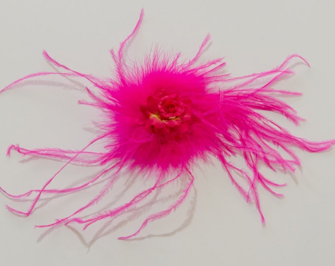 Hot Pink Feather Flower Clip