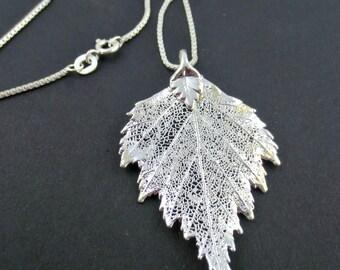 Silver Birch Leaf Necklace/Genuine Birch Leaf/Real Birch Leaf Necklace/Botanical Jewelry/Real Leaf/Genuine Leaf Jewelry/Bridesmaid Necklace