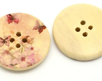 Multicolor Butterfly Painting 4 Holes Round Wood  Sewing Buttons - Pack Of 4