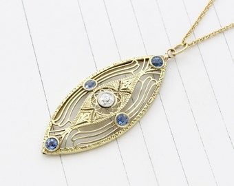Antique 14k Filigree Sapphire & Diamond Necklace, Edwardian Yellow Gold Pendant Bridal Jewelry Wedding Anniversary September Birthstone Gift