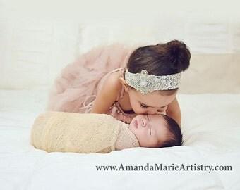 Rhinestone Pearl Headband Lace Elastic Baby Girl Newborn Toddler Girl