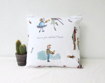Childrens cushion cover, small 12 inch pillow cover, Roald Dahl fabric, nursery decor, small throw pillow, handmade in the UK