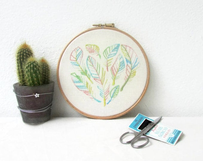Hand embroidery wall art, heart of feathers design, handmade in the UK