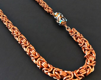 Copper Chainmaille Necklace -  Copper Chain Necklace - Copper Jewelry - Byzantine Chain - Beaded Chainmaille Necklace for Women