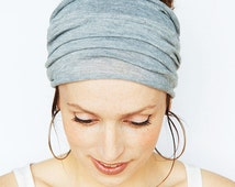 Grey Headband - Grey Headwrap Grey Hairwrap Yoga Headband Workout Headband Boho Headband Bohemian Headband Turban Etsy Finds Fitness Running