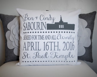 lds wedding gift, lds temple pillow cover , lds temple gift, Mormon wedding gift, Mormon Temple, Wedding date, lds pillow cover, 18x18