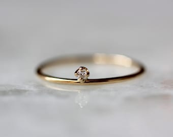 14K Floating Diamond Ring, Tiny Diamond Ring, Solid Gold Ring, Minimal Jewlery, Stacking Ring, Midi Ring, Yellow Gold, Rose Gold, White Gold