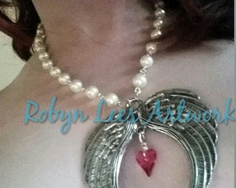 SALE! Swarovski Silver Winged Indian Pink Heart Cream Pearl Bead Necklace