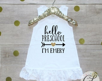 Back to School Dress / Preschool Pre-K Cutie Shirt 1st Day of School Shirt Preschool Tee Pre-K Class Outfit T-Shirt First Personalized 119