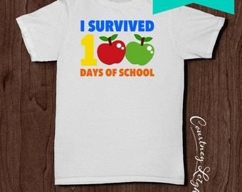 I Survived 100 Days 100th Day of School / Instant Download Teacher Gift Print Gift Kindergarten Grade Printable DIY Iron On Transfer Shirt