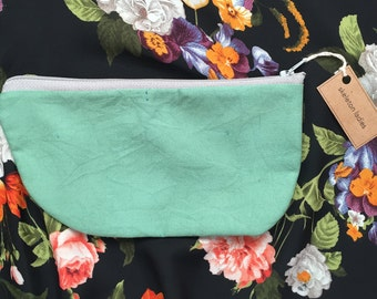 Pastel Green Zipper Pouch//Hand-Dyed