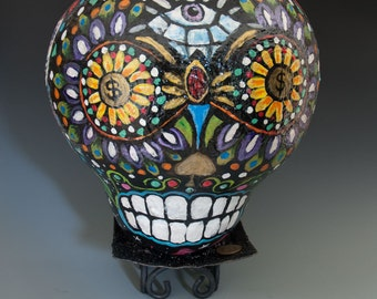 Hand Painted Sugar Skull Gourd Art - Signature Series