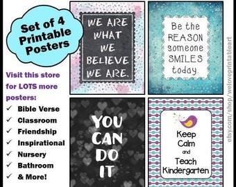 Kindergarten Teacher Gifts, Keep Calm and Teach Kindergarten, Printable Posters, Kindergarten Classroom Decor, Gift for Kindergarten Teacher