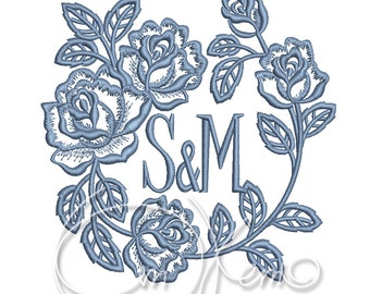 MACHINE EMBROIDERY FILE - Custom initials, customized initials, anniversary embroidery, wedding embroidery, ring pillow embroidery