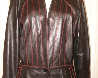 1980's Escada by Margaretha Ley Black Soft Lambskin Leather Jacket Size 38 Mad Max Shoulders Unique Red Stitching