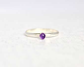 Amethyst Ring.  Sterling Silver Ring with a Genuine Amethyst  Stone.  Birthstone Ring.  Simple silver ring.  Everyday wear ring.