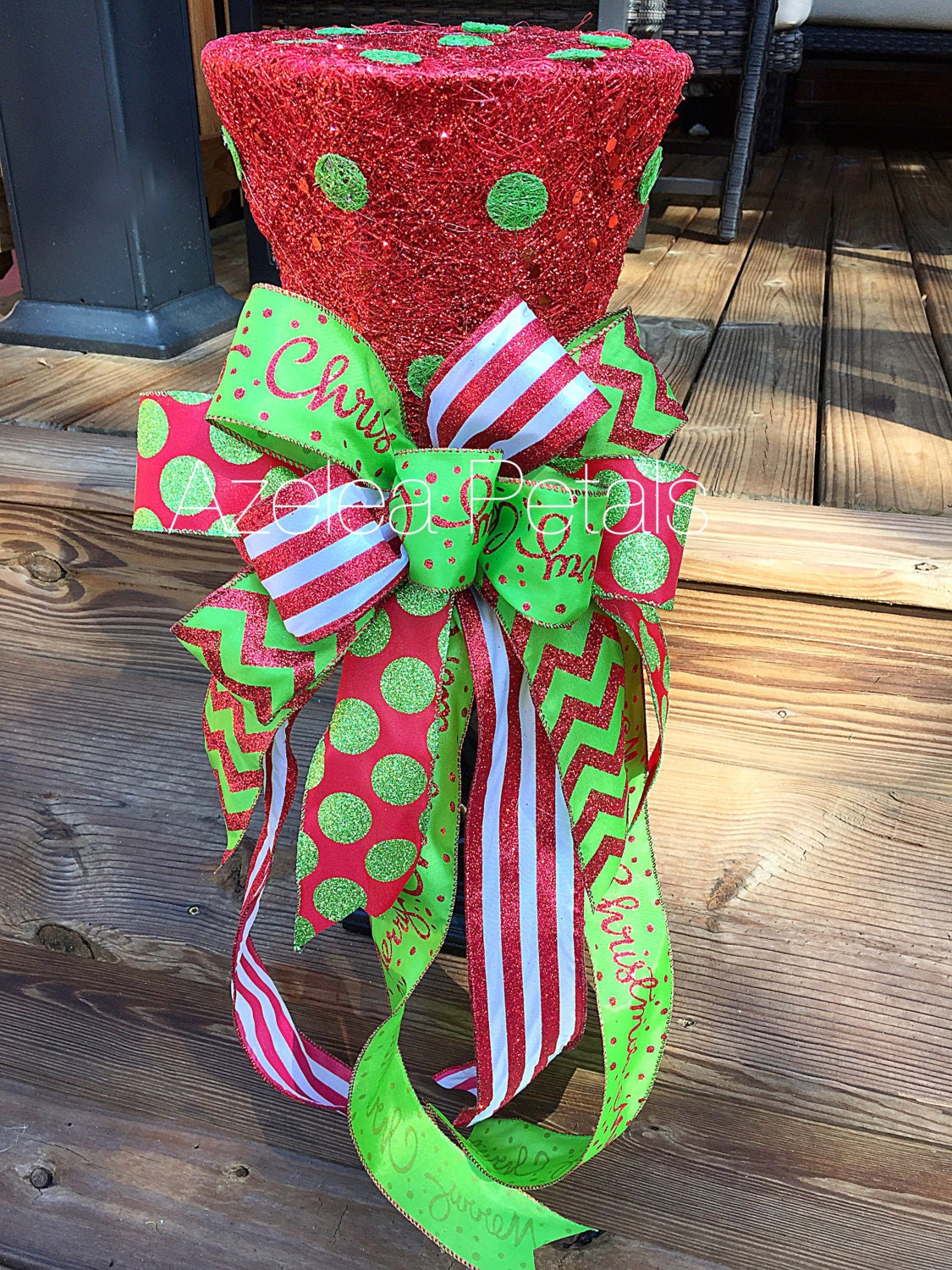 Christmas Top Hat Tree Topper Candy Red And Lime Green Tree