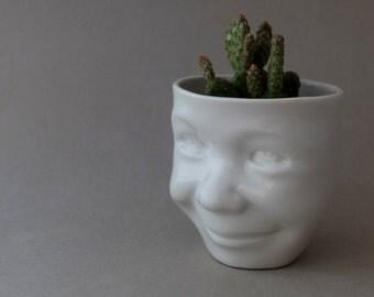 Head Planter, Face Planter, Head Vase, Desk Accessories, Small Plant, Herb Pot, Succulent Planter, Flower Pot, Cermic Cup, SCULPTUREinDESIGN