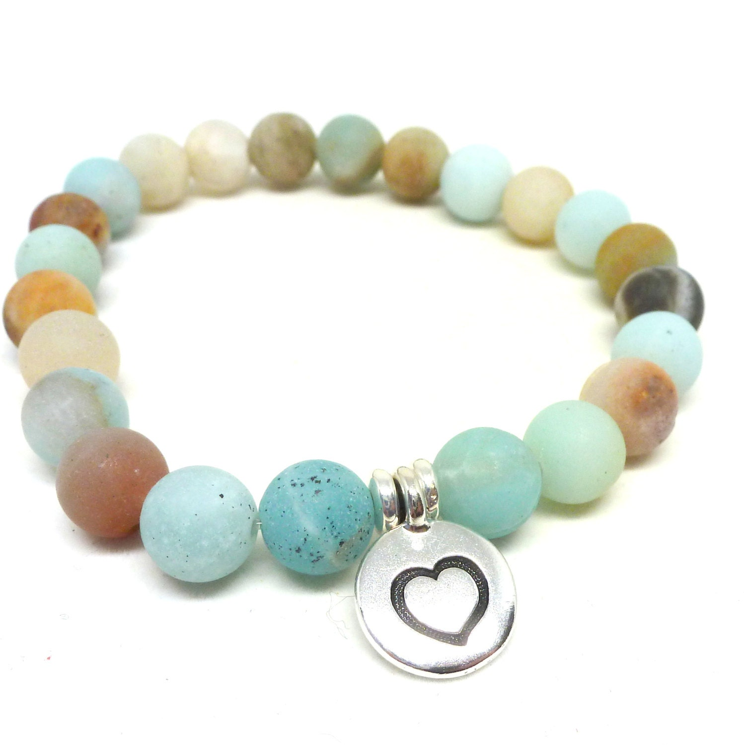 frosted amazonite gemstone bead bracelet with silver