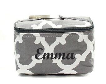 Quatrefoil Monogrammed Make Up Bag  Grey Quatrefoil Cosmetic Bag  Monogrammed Makeup Bag