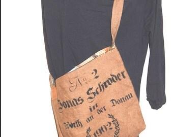 Vintage-Style-Burlap-Schroeder Tote -Handmade-Linen-Lined