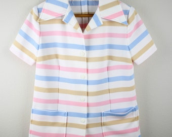 70's Ladies Long Collared Pastel Striped Button Up Blouse / Top